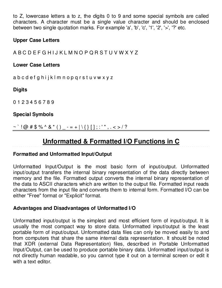 formatted and unformatted input output functions in c pdf