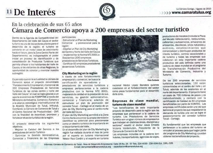Cámara de Comercio de Tuluá apoya a 200 empresas del sector turístico
