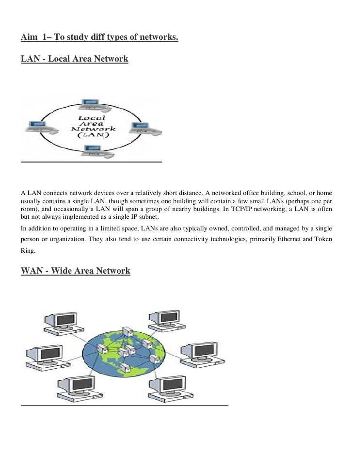 Aim 1– To study diff types of networks.LAN - Local Area NetworkA LAN connects network devices over a relatively short dist...