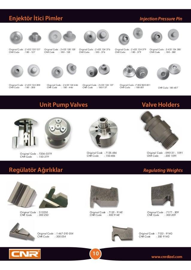 CNR Code: 180-487 Regülatör Ağırlıklar Regulating Weights Unit Pump Valves Valve Holders 10 www.cnrdizel.com Enjektör İtic...