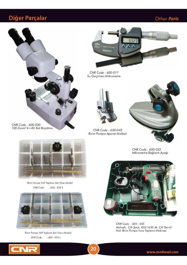 20 www.cnrdiesel.com Diğer Parçalar Other Parts CNR Code : 600-030 10X Zoom*4=40 Kat Büyütme CNR Code : 600-022 Mikrometre...