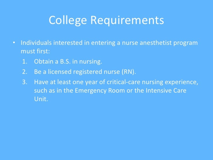 Nurse Anesthetist School Requirements