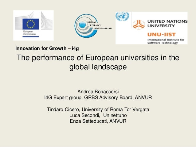 Innovation for Growth – i4gThe performance of European universities in the              global landscape                  ...