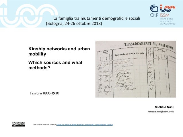 Kinship networks and urban mobility Which sources and what methods? Michele Nani michele.nani@issm.cnr.it This work is lic...