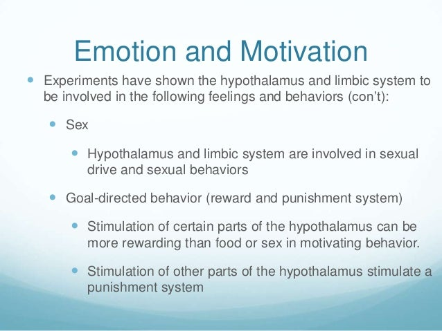 Emotion and Motivation Experiments have shown the hypothalamus and limbic system to  be involved in the following feeling...