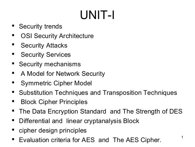 UNIT-I  Security trends  OSI Security Architecture  Security Attacks  Security Services  Security mechanisms  A Mode...