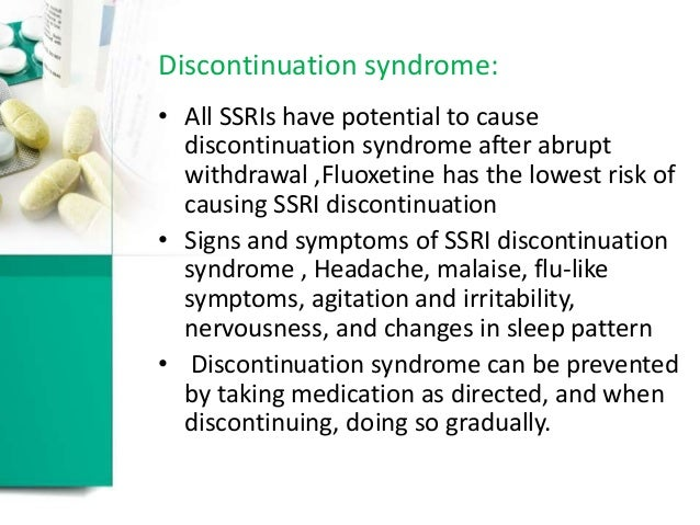 Abrupt Withdrawal Fluoxetine