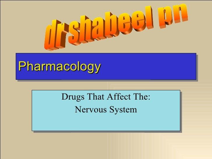 Pharmacology Drugs That Affect The: Nervous System dr shabeel pn