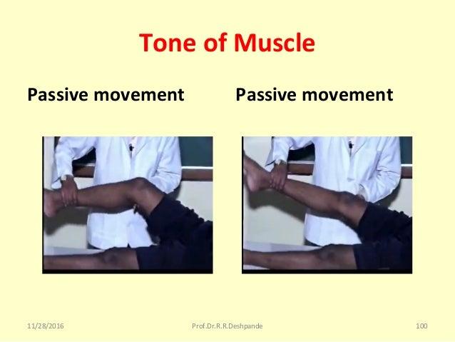 Tone of Muscle Passive movement Passive movement 11/28/2016 Prof.Dr.R.R.Deshpande 100