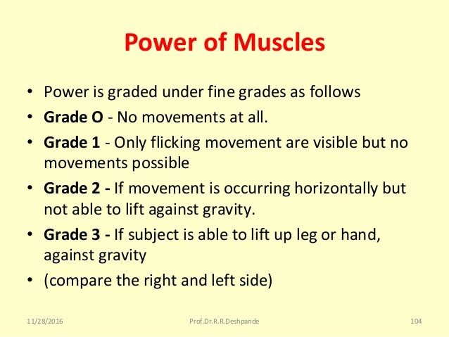 Power of Muscles • Powerisgradedunderfinegradesasfollows • Grade O -Nomovementsatall. • Grade 1 -Onlyflicking...