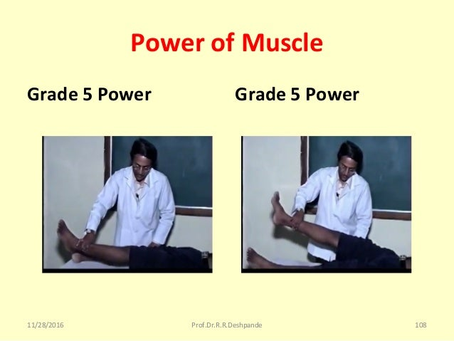 Power of Muscle Grade 5 Power Grade 5 Power 11/28/2016 Prof.Dr.R.R.Deshpande 108
