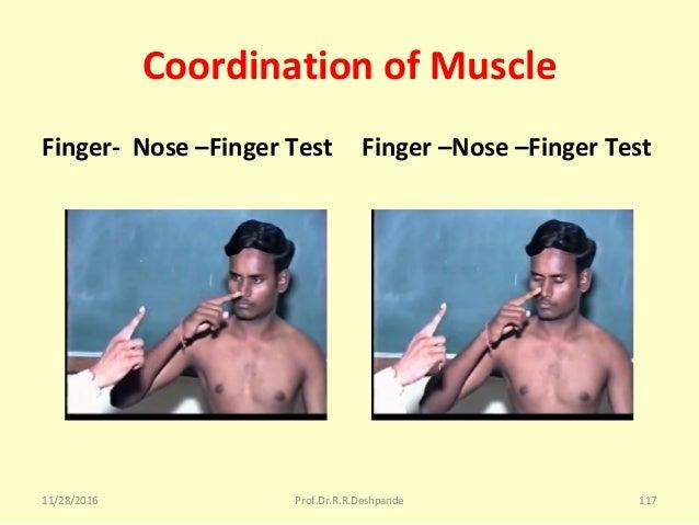 Coordination of Muscle Finger- Nose –Finger Test Finger –Nose –Finger Test 11/28/2016 Prof.Dr.R.R.Deshpande 117