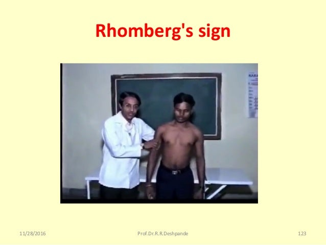 Rhomberg's sign 11/28/2016 Prof.Dr.R.R.Deshpande 123