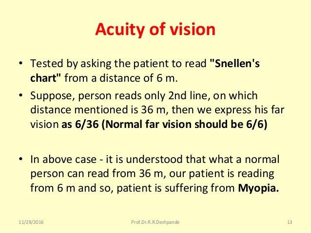 "Acuity of vision • Testedbyaskingthepatienttoread""Snellen's chart"" fromadistanceof6m. • Suppose,personreads..."