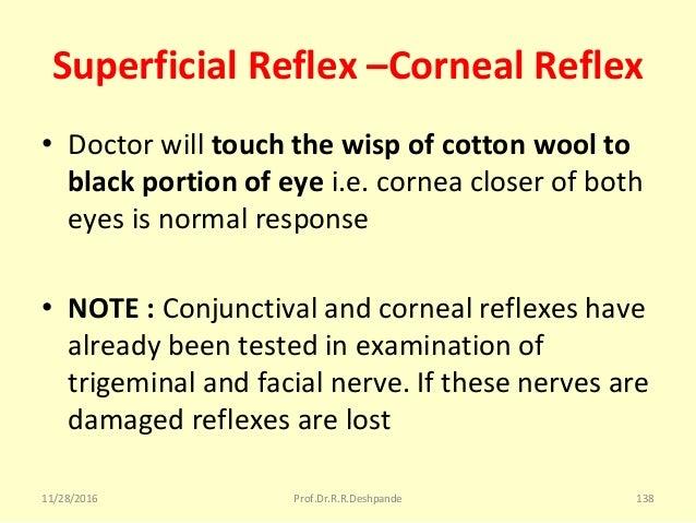 Superficial Reflex –Corneal Reflex • Doctorwilltouch the wisp of cotton wool to black portion of eye i.e.corneacloser...