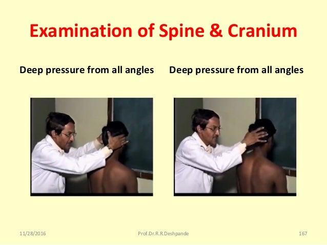Examination of Spine & Cranium Deep pressure from all angles Deep pressure from all angles 11/28/2016 Prof.Dr.R.R.Deshpand...
