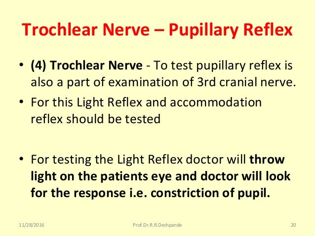 Trochlear Nerve – Pupillary Reflex • (4) Trochlear Nerve -Totestpupillaryreflexis alsoapartofexaminationof3rd...
