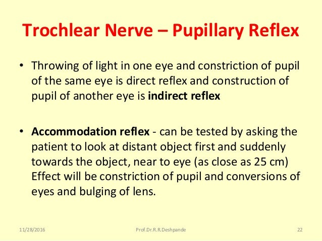 Trochlear Nerve – Pupillary Reflex • Throwingoflightinoneeyeandconstrictionofpupil ofthesameeyeisdirectref...