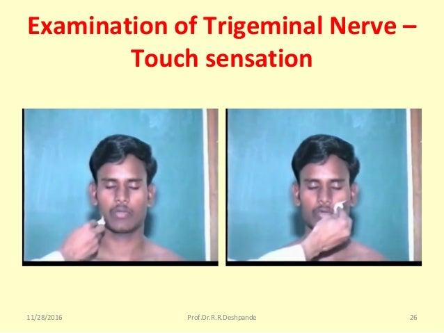 Examination of Trigeminal Nerve – Touch sensation 11/28/2016 Prof.Dr.R.R.Deshpande 26