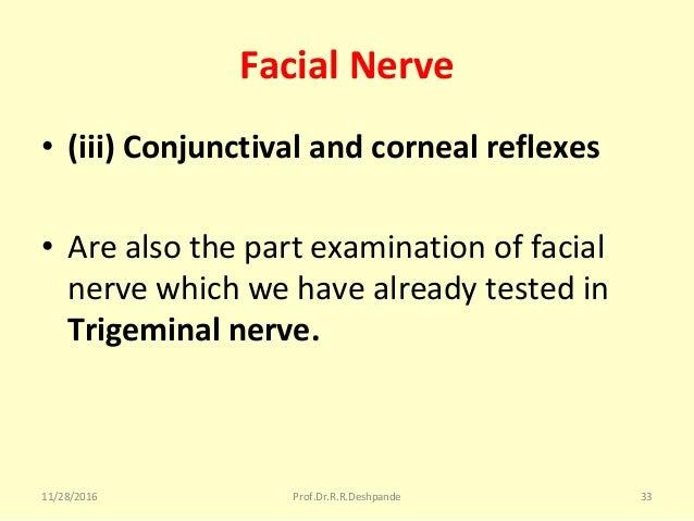 Facial Nerve • (iii) Conjunctival and corneal reflexes • Arealsothepartexaminationoffacial nervewhichwehavealre...