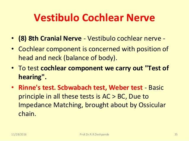 Vestibulo Cochlear Nerve • (8) 8th Cranial Nerve -Vestibulocochlearnerve- • Cochlearcomponentisconcernedwithposi...