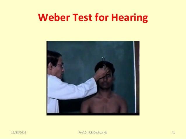 Weber Test for Hearing 11/28/2016 Prof.Dr.R.R.Deshpande 41