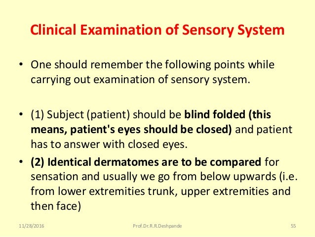 Clinical Examination of Sensory System • Oneshouldrememberthefollowingpointswhile carryingoutexaminationofsenso...