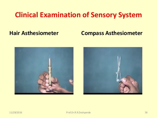 Clinical Examination of Sensory System Hair Asthesiometer Compass Asthesiometer 11/28/2016 Prof.Dr.R.R.Deshpande 56