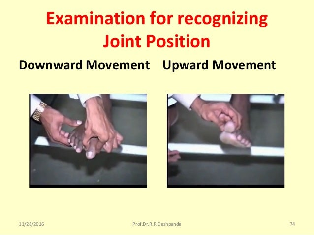 Examination for recognizing Joint Position Downward Movement Upward Movement 11/28/2016 Prof.Dr.R.R.Deshpande 74