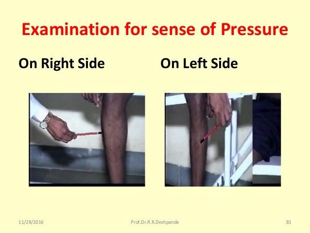 Examination for sense of Pressure On Right Side On Left Side 11/28/2016 Prof.Dr.R.R.Deshpande 81