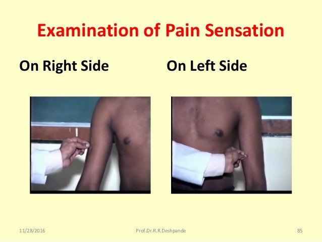 Examination of Pain Sensation On Right Side On Left Side 11/28/2016 Prof.Dr.R.R.Deshpande 85