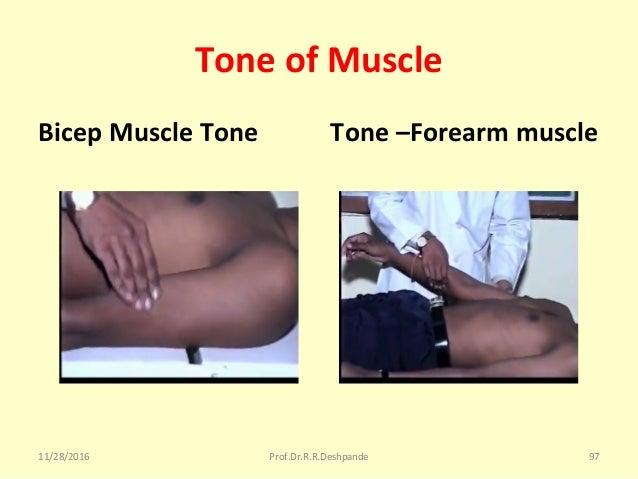 Tone of Muscle Bicep Muscle Tone Tone –Forearm muscle 11/28/2016 Prof.Dr.R.R.Deshpande 97