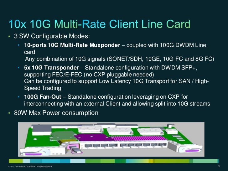 • 3 SW Configurable Modes:           • 10-ports 10G Multi-Rate Muxponder – coupled with 100G DWDM Line             card   ...