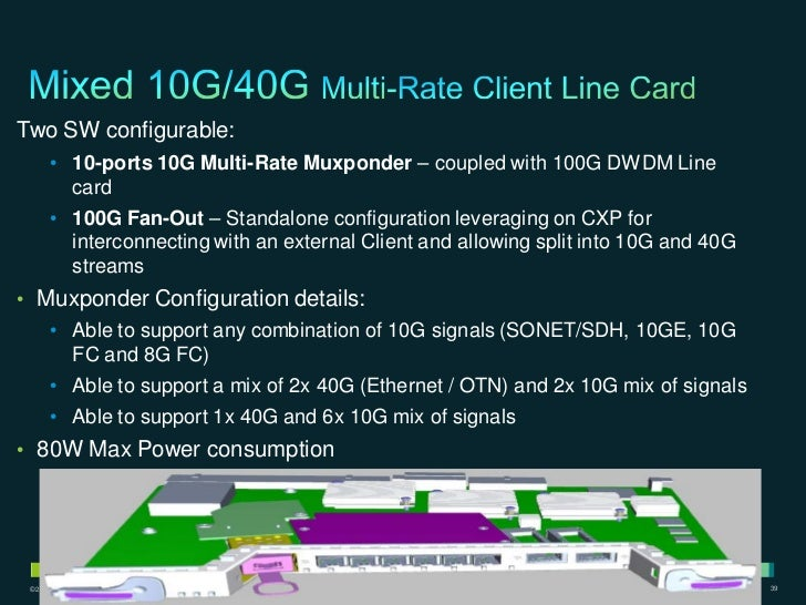 Two SW configurable:        • 10-ports 10G Multi-Rate Muxponder – coupled with 100G DWDM Line          card        • 100G ...