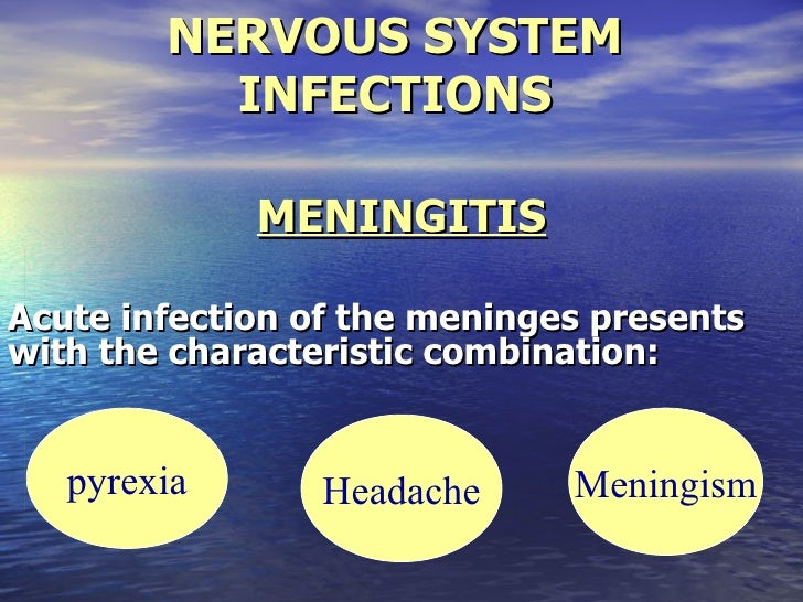 NERVOUS SYSTEM          INFECTIONS             MENINGITISAcute infection of the meninges presentswith the characteristic c...