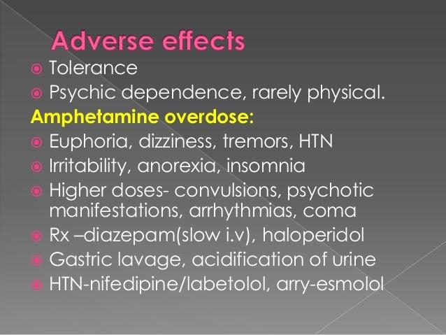 AE:  Gastric irritation, N, V  Nervousness, insomnia, agitation  Muscule twitch, rigidity  ↑body temp,delirium, convul...