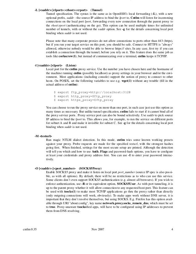 Cntlm manual