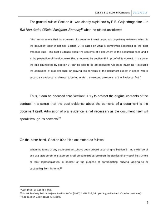 Parol Evidence Rule And Collateral Contract