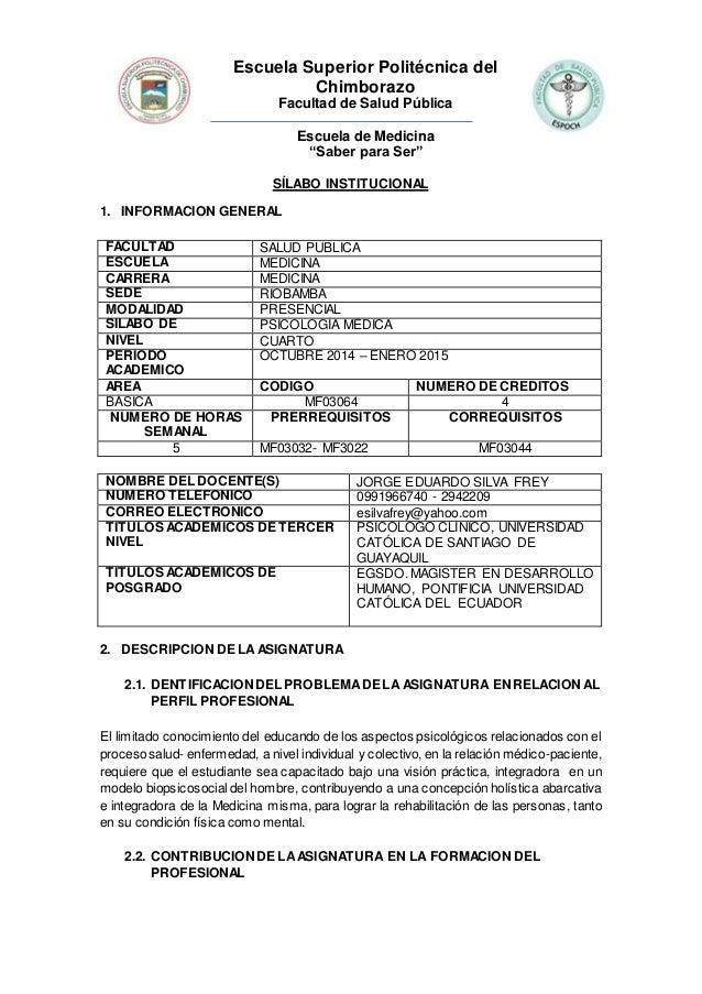 """Escuela Superior Politécnica del  Chimborazo  Facultad de Salud Pública  Escuela de Medicina  """"Saber para Ser""""  SÍLABO INS..."""