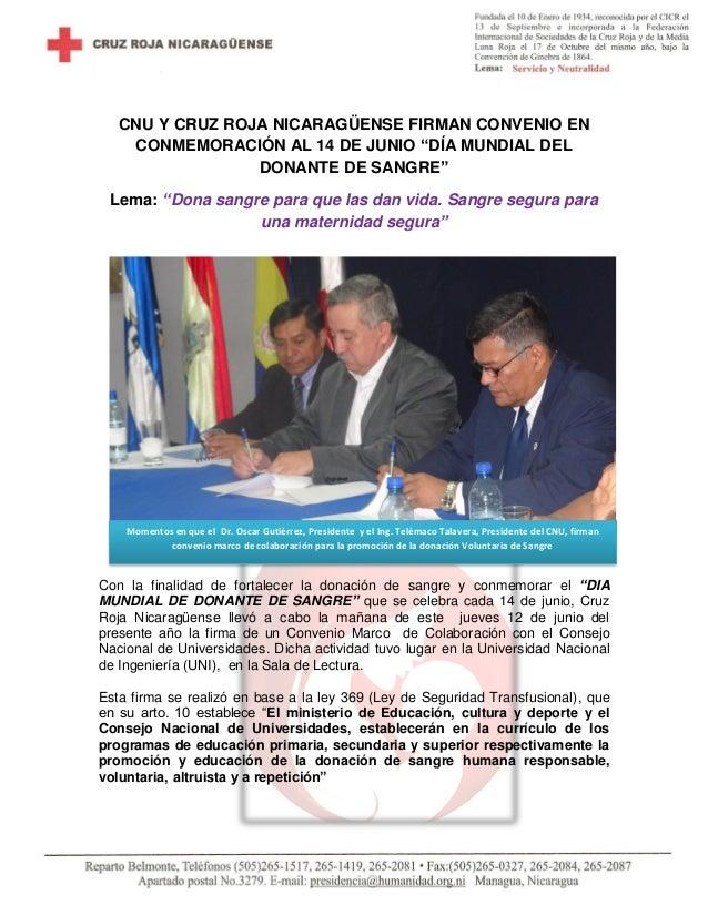 """CNU Y CRUZ ROJA NICARAGÜENSE FIRMAN CONVENIO EN CONMEMORACIÓN AL 14 DE JUNIO """"DÍA MUNDIAL DEL DONANTE DE SANGRE"""" Lema: """"Do..."""
