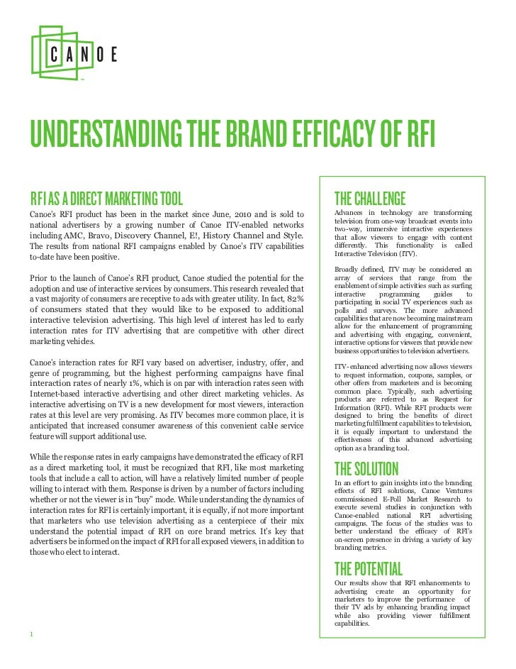 UNDERSTANDING THE BRAND EFFICACY OF RFIRFI AS A DIRECT MARKETING TOOL                                                     ...