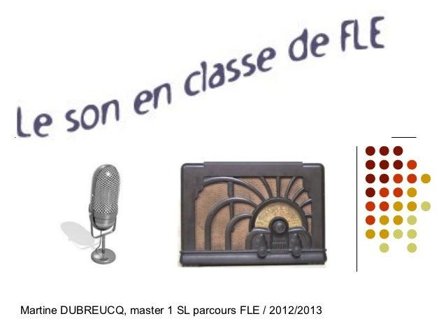 Martine DUBREUCQ, master 1 SL parcours FLE / 2012/2013