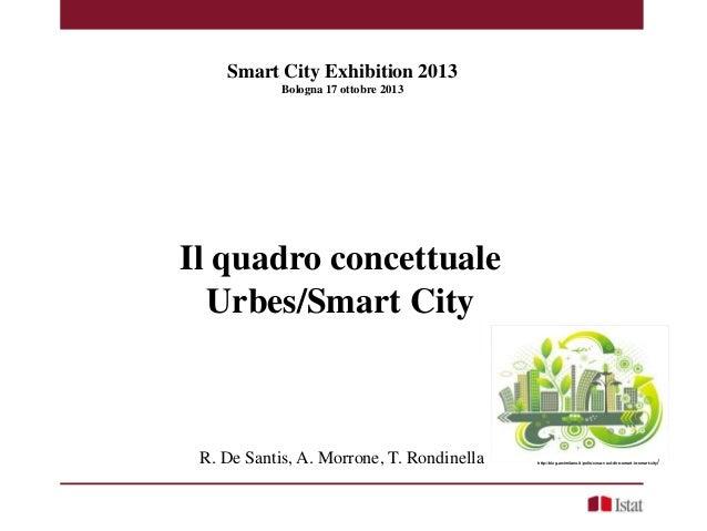 e 2013  Smart City Exhibition 2013 Bologna 17 ottobre 2013  Il quadro concettuale Urbes/Smart City  R. De Santis, A. Morro...