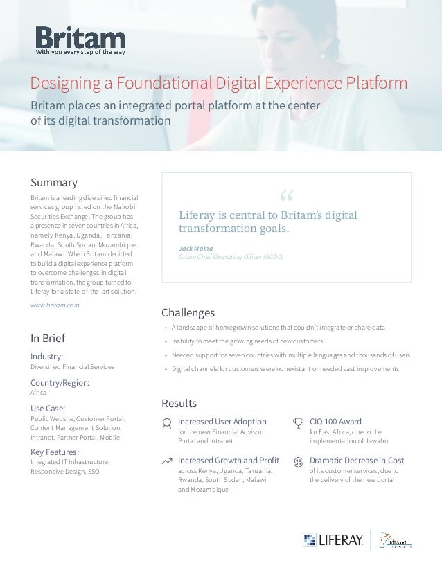 Designing a Foundational Digital Experience Platform Britam places an integrated portal platform at the center of its digi...