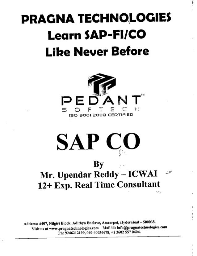 SAP CO by upendar reddy,icwai
