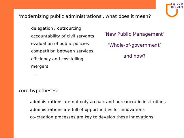 core hypotheses:'modernizing public administrations', what does it mean?'New Public Management''Whole-of-government'and no...
