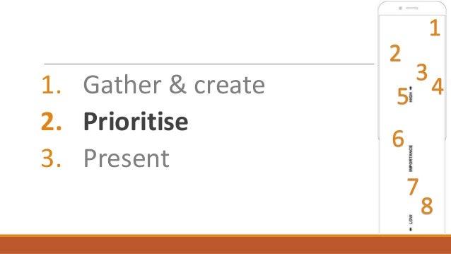1. Gather & create 2. Prioritise 3. Present 1 2 3 45 7 6 8