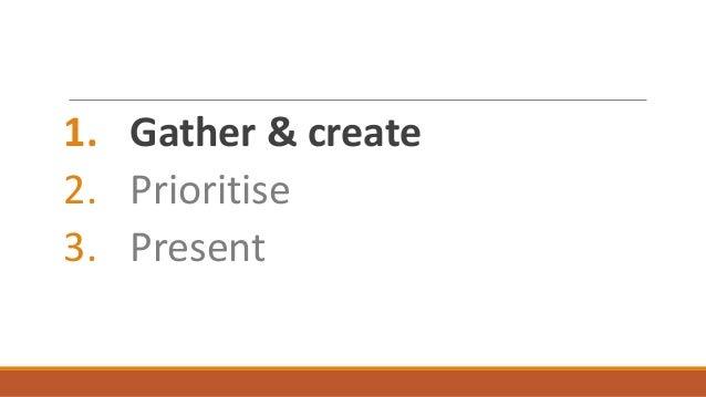 1. Gather & create 2. Prioritise 3. Present
