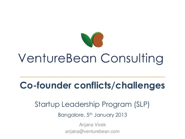 Co-founder conflicts/challenges   Startup Leadership Program (SLP)         Bangalore, 5th January 2013                 Anj...
