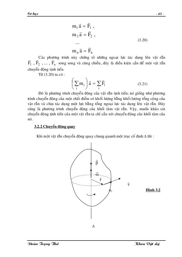 Cô hoïc - 43 - nn Fam Fam Fam rr rr rr = = = ... , , 22 11 (3.20) Caùc phöông trình naøy chöùng toû nhöõng ngoaïi löïc taù...